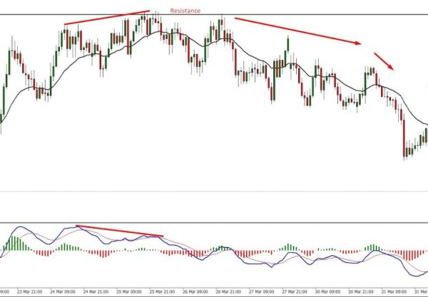 Divergence between the price and MACD